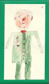 Рисунок Кати Красновой 6-ти лет «Дедушка Ваня — ветеран войны»
