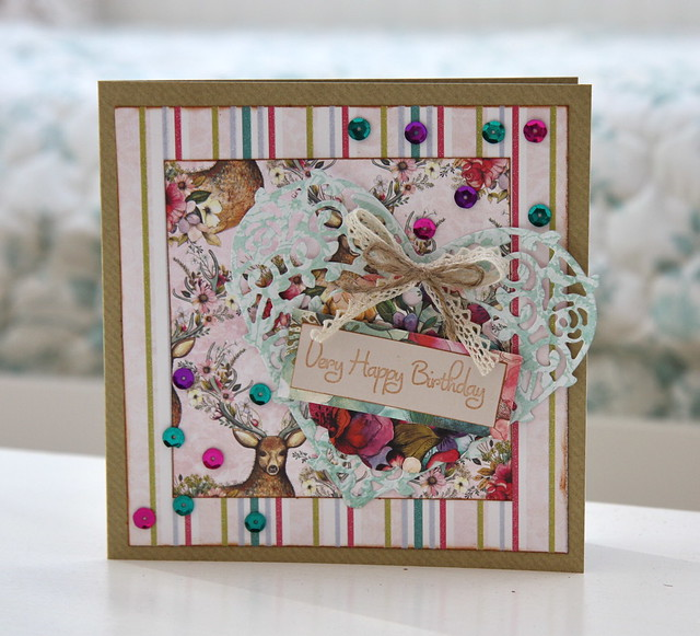 Bohemian heart birthday card with sequins by StickerKitten