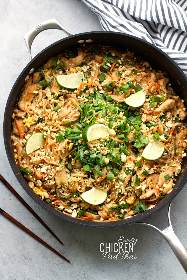Easy Chicken Pad Thai Recipe - this takes 30 minutes to make and is soooooo GOOD! #padthai #thaifood #takeoutfakeout | Littlespicejar.com