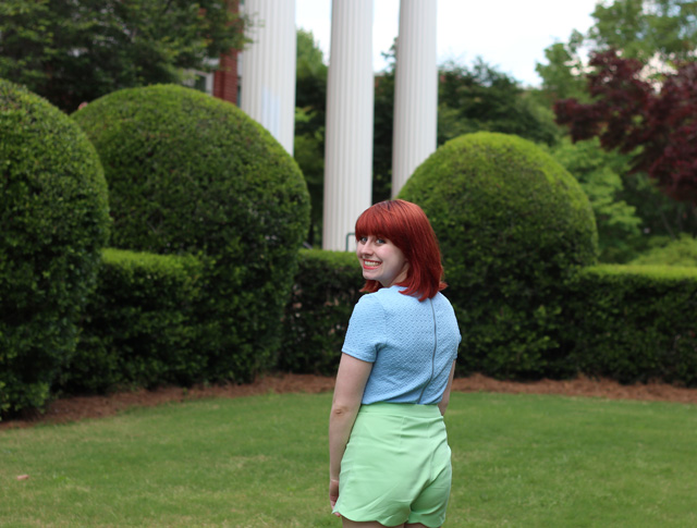 Green Shorts, Blue Shirt, and Red Hair
