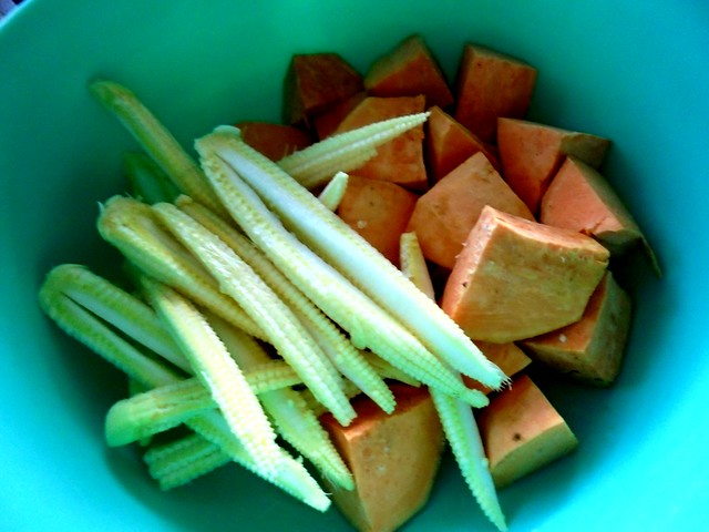 Sweet potatoes & baby corn