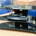 Black glass tiered tv unit