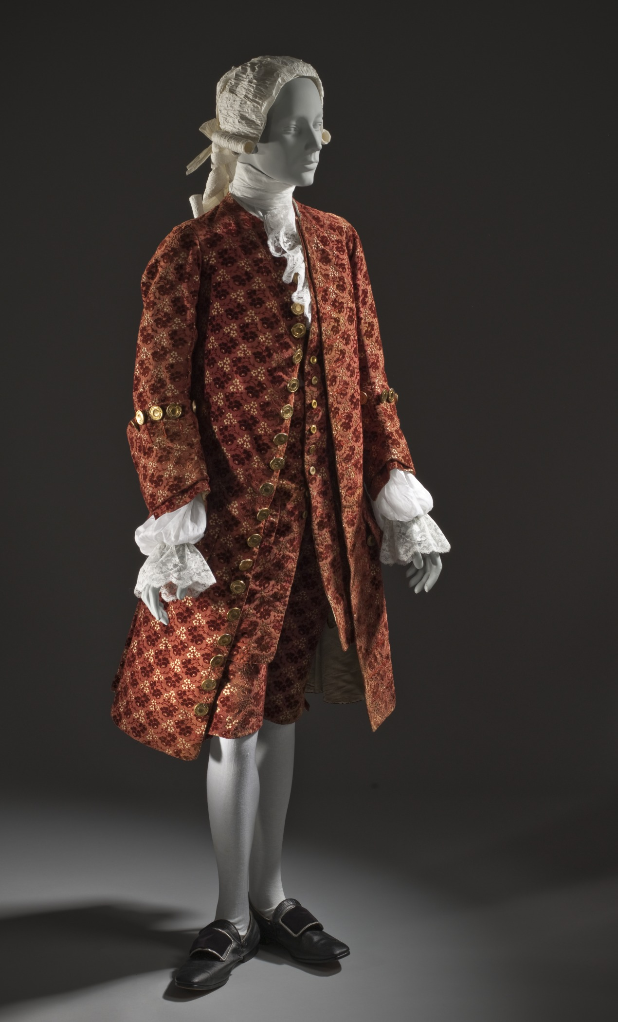 c. 1755 Man's ensemble. Silk cut, uncut, and voided velvet (ciselé) on satin foundation. LACMA