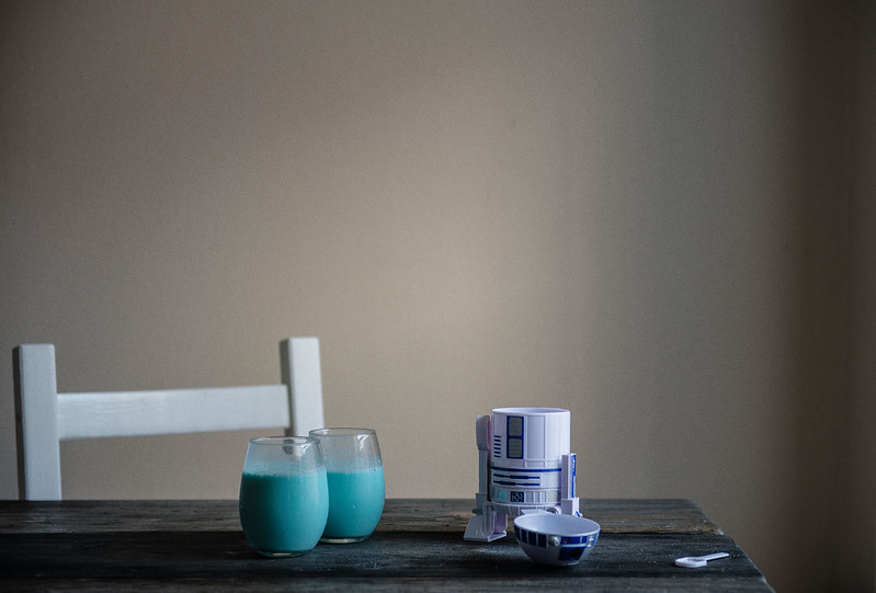 aunt beru's blue milk | two red bowls