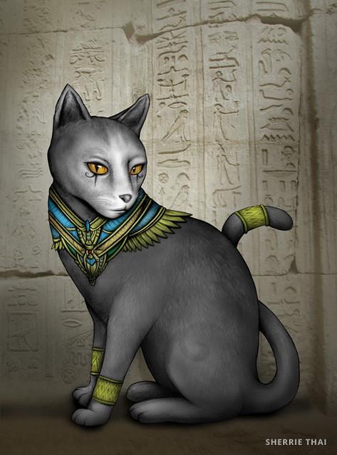 Bastet Egyptian Cat Art by Sherrie Thai