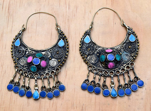 Big Afghan Kuchi Earring,Crescent Tribal Earring,Hippie,Tribal Jewelry,Antique Carved Earrings,Lapis,Gypsy Boho Earring,Belly Dance Earrings