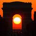 Sunset in the middle of Arc de Triomphe in the 1st august 2011 taken from Rond Point des Champs-Elysees. by Loïc Lagarde