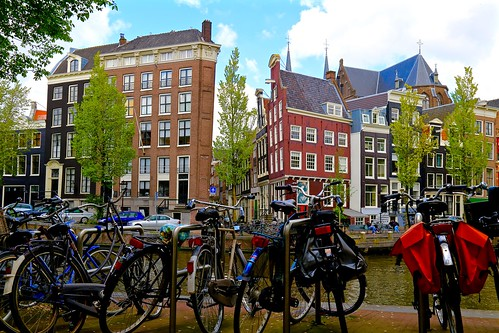 Amsterdam in one picture: bikes, canals, and leaning historic houses