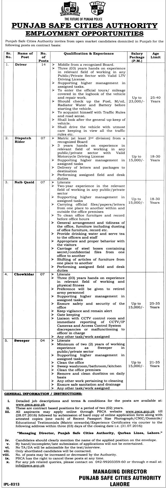 Punjab Safe City Authority bas Scale Jobs