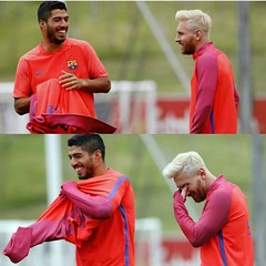 C Barcelona's pre-season 201617 first training session at St.George's Park