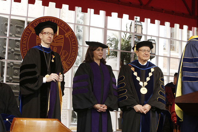 USC Provost Michael Quick, Honorary Degree Recipient California Attorney General Kamala Harris, USC President C. L. Max Nikias