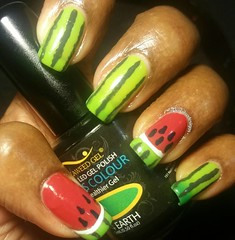 #kksaugnailart  August 7: WATERMELON  Checkout my nail only page 4 more awesome designs @kknailsndesigns