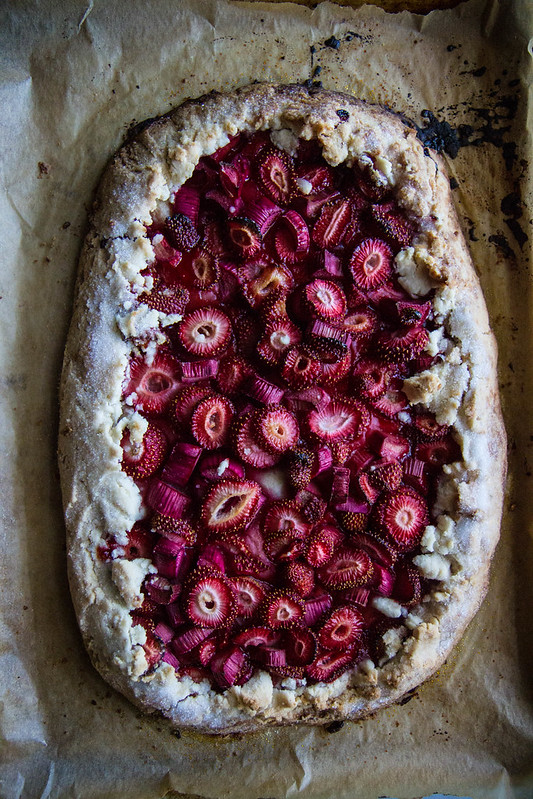 Strawberry Rhubarb Almond Galette