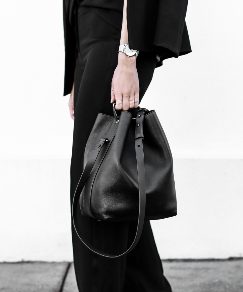modern legacy, fashion blog, bucket bag, phillip lim, street style, sport luxe, wide leg suit, all black (1 of 1)