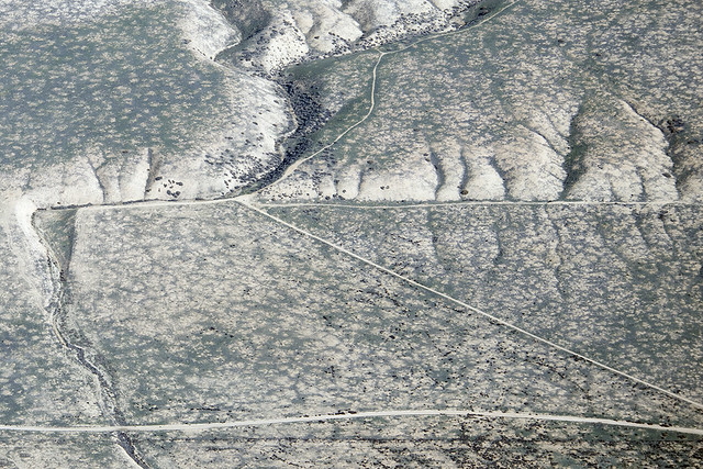 Aerial view of offset stream channels along the San Andreas Fault, Carrizo Plain, California