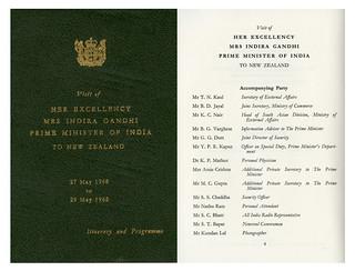 Indira Gandhi visit to New Zealand - May 1968