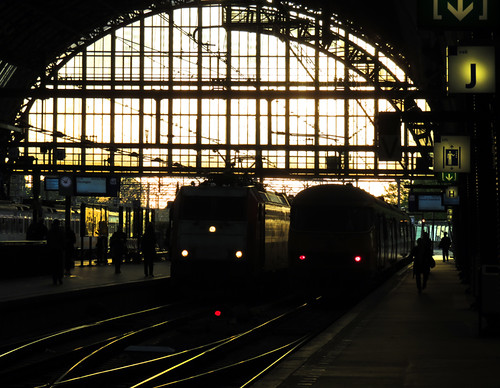 Trains on the tracks at the Central Station in Amsterdam, Holland