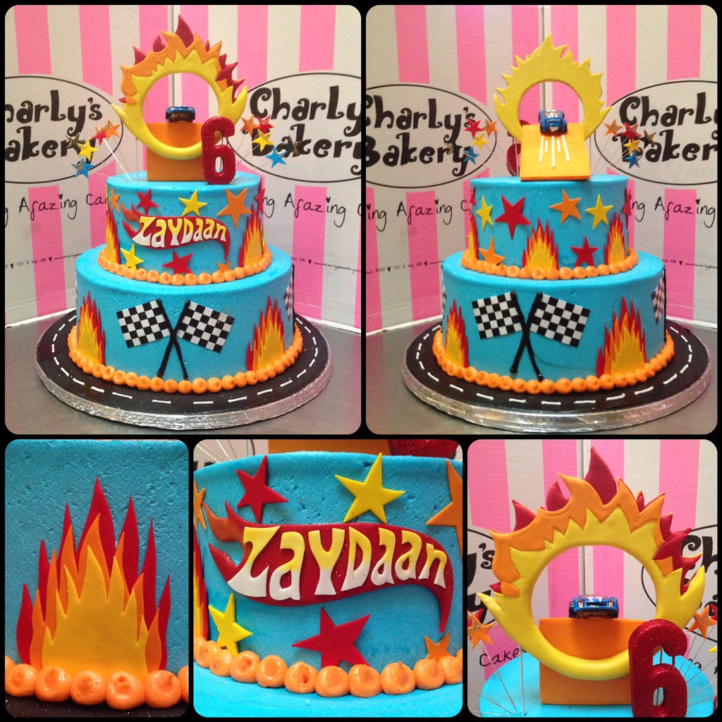 2 Tier Hot Wheels Themed Birthday Cake Iced In Sky Blue Butter Icing