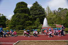 Children on excursion to Kyoto botanical garden.