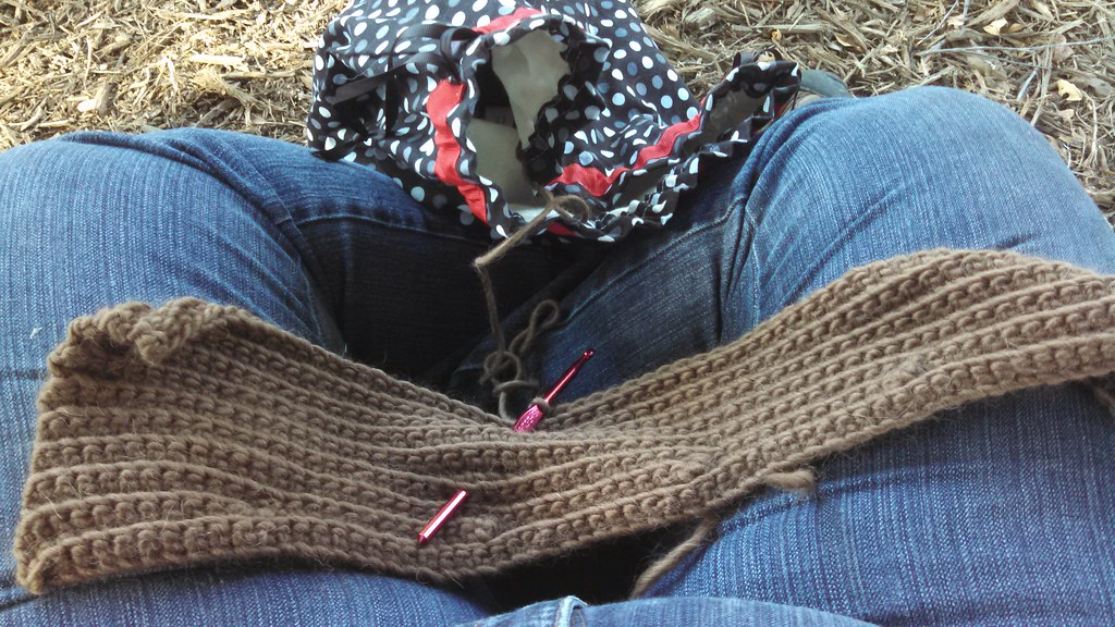 Working on the sleeve of the piece. Knitting bag in Davidson colors!