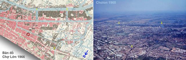 Bản đồ CHỢ LỚN 1966 & Không ảnh 1968