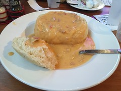Bread bowl lobster bisque at The Boardwalk in Put-…
