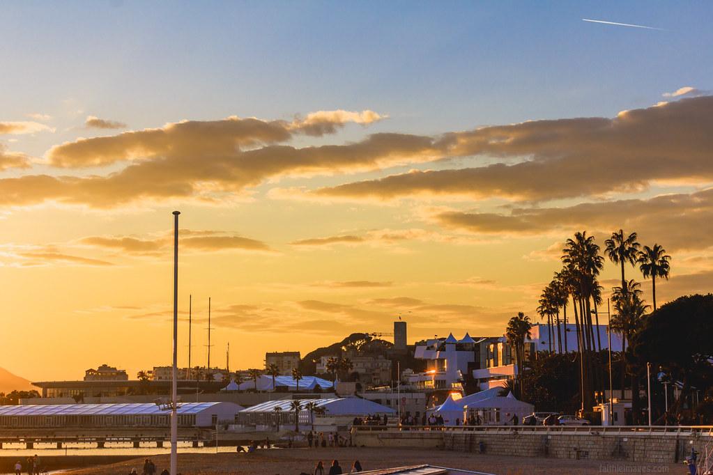 Golden sunset on the Croisette