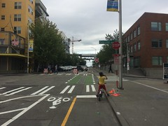 Our first look at the new protected (flexiposts coming soon) two-way bike lanes on 34th in Fremont.