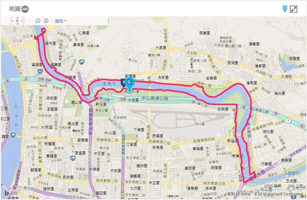 台北星光馬拉松-地圖