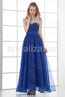 Royal Blue Military Ball Ankle-Length Satin Prom Dresses