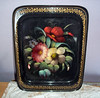 Vintage Toleware Painted Rectangular Tin Tray - Russian Lacquer Floral Tray