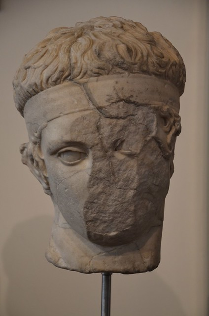 Marble head of a athlete (diadoumenos), Late Hellenistic copy of a Greek original of the 2nd half of the 5th century BC, from Terracina, Museo di Scultura Antica Giovanni Barracco, Rome
