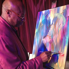 Alderman Willie Cockran contributing during my #live #painting event last weekend at the #KLEO Spring event