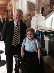 Rep. Richard Smith meets Hunter Pageau on May 27 during SMARD Day at the state Capitol.