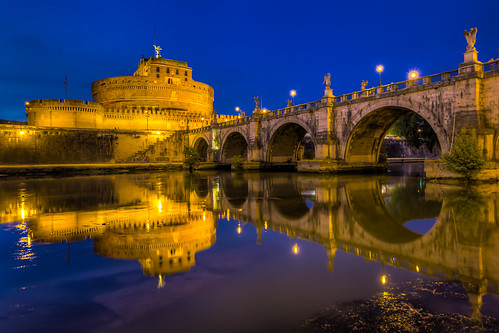 bridge sunset italy rome roma reflection castle water museum night twilight italia dusk bluehour fortress castelsantangelo tiberriver pontesantangelo fiumetevere