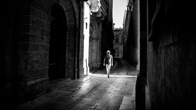 The man with the hat - Mdina, Malta - Black and white street photography
