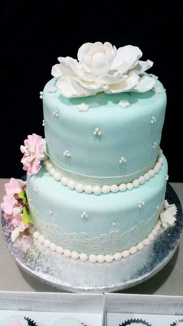 Lightblue and Pink Lace Wedding Cake by Ronnet Tubog of Flour fairy by RHJ