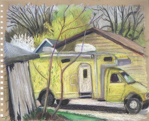 spring backalley urbanlandscape cedarfallsiowa pensketruck neocoloriiwatersolublewaxpastels marciamilnerbrage cansonswickercoloredscrapbook