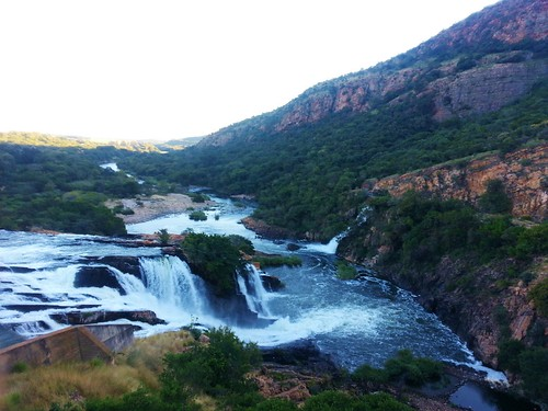 Cool waterfall from the old school bridge in Hartbeespoort