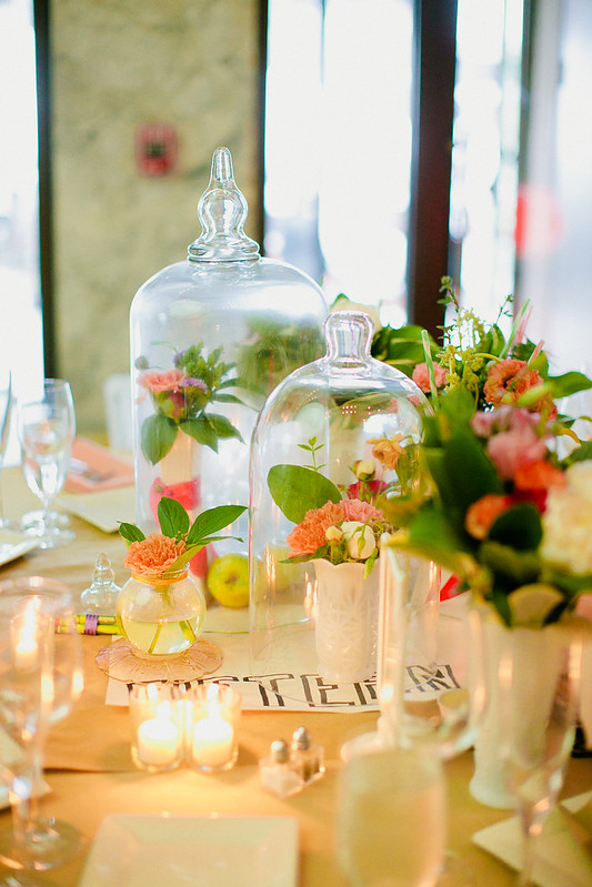 Floral Centerpieces In Bell Jars