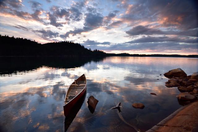 Dougherty Lake, Sunset & Canoe