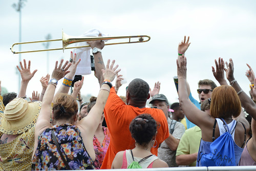 New Birth Brass Band: Glen David Andrews in the crowd. Photo by Leon Morris.