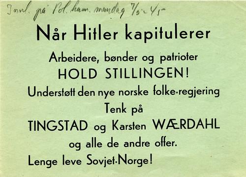 Når Hitler kapitulerer - Arbeidere, bønder og patrioter - HOLD STILLINGEN! (1945)