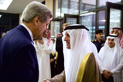 U.S. Secretary of State John Kerry shakes hands with Adel Al-Jubeir, the newly named Saudi Foreign Minister, upon arriving at the Saudi Ministry of Interior in Riyadh, Saudi Arabia, on May 6, 2015, for a meeting and working dinner with Crown Prime Mohammed bin Nayef. [State Department photo/ Public Domain]