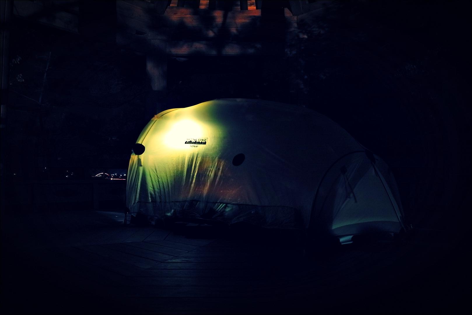 정자 위 텐트-'섬진강 자전거 여행'