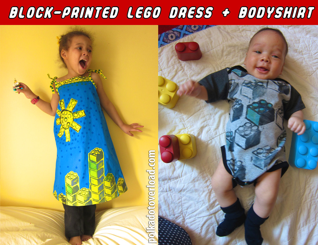 Block-printed Lego Dress + Bodyshirt