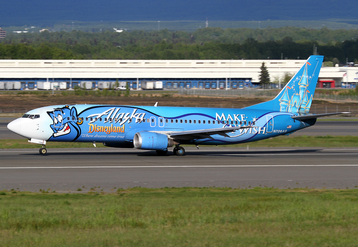 "AS70 to Juneau JNU departs from RWY33 in lovely clear evening light. Special ""make a wish"" scheme. Delivered 07/1998."