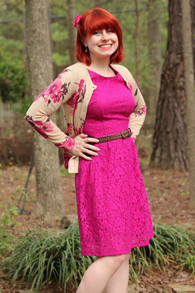 Bright Pink Lace A-Line Dress with a Tan Floral Print Cardigan