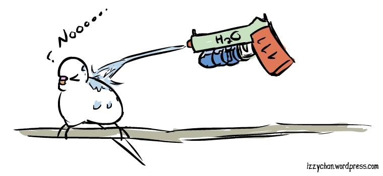 white bird squirt gun nooooo