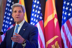 U.S. Secretary of State John Kerry delivers a speech about U.S.-Sri Lankan relations in Colombo, Sri Lanka, on May 2, 2015, after a series of meetings with President Maithripala Sirisena, Prime Minister Ranil Wickremesinghe, and Foreign Minister Mangala Samaraweera.  [State Department Photo/Public Domain]